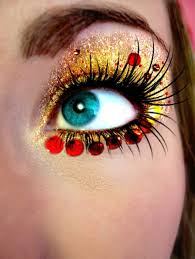 gold eyes red bling eye make up face jewels party night