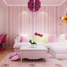 apartment wall stickers chic cherry blossom wall decals interior striped wallpaper solid kids room vertical wall paper roll waterproof living home decor tapete pink blue