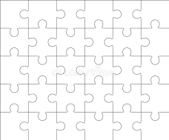 jigsaw puzzle blank template 5x6 thirty pieces stock illustration