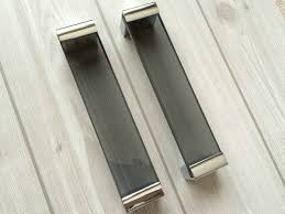 black and chrome kitchen cupboard handles 6 3 large glass drawer pulls kitchen cabinet door handles
