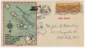 Mail Map Airmail Flight Cover First Hawaiian Islands Inter Island Airways