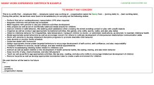 Resume Of Nanny Nanny Work Experience Certificate