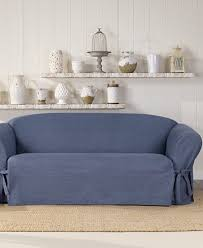 Sure Fit T Cushion Sofa Cover Sure Fit Authentic Denim One Piece T Cushion Sofa Slipcover