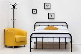 henley victorian hospital style black metal bed frame single