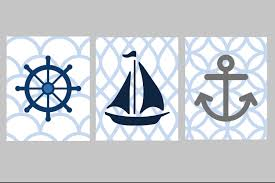 Nautical Nursery Wall Decor by Nautical Nursery Wall Art Nautical Nursery Decor Blue
