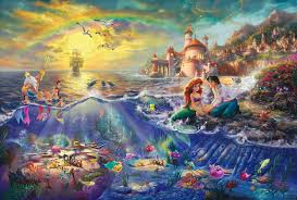 mermaid thomas kinkade painting walt disney pictures