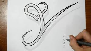 drawing letter y with heart combined cool tattoo design idea