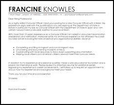 consular officer cover letter sample livecareer