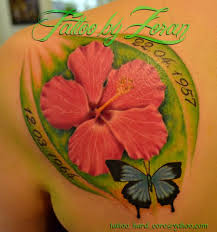 beautiful butterfly and hibiscus on back shoulder