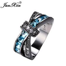 fashion cross rings images Junxin blue light cross ring fashion women fashion store jpg