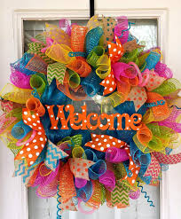 orange welcome deco mesh wreath by southernwreathsal
