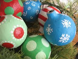 chrismas paper mache ornaments blue cricket design