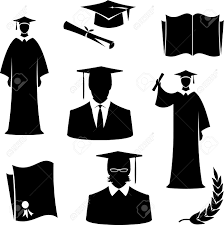 graduation items graduates in gowns and hats and graduation items vector royalty