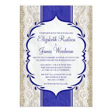 Royal Blue Wedding Invitations Royal Blue Vintage Linen Burlap Wedding Invitation Zazzle Com