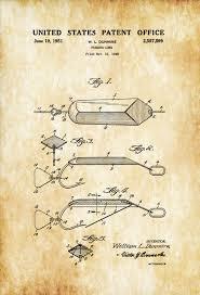 Cabin Decor Spoon Fishing Lure Patent Patent Print Wall Decor Fishing Lure