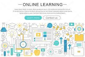 design online education vector elegant thin line flat modern art design e learning online
