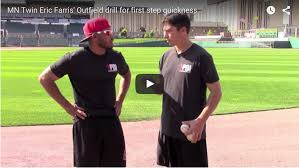 outfield drills first step quickness with mn twins eric farris