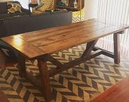 Rustic Dining Table Etsy - Dining room table with benches