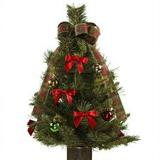 artificial decorated tree plaid bow cemetery small trees