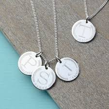 sterling name necklace images Coin style sterling silver initial necklace by nina louise jpg