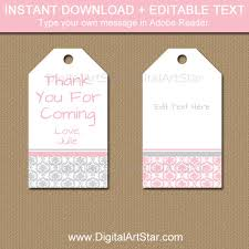 Thank You Tags Wedding Favors Templates by Pink And Silver Birthday Tags Pink And Silver Baby Shower