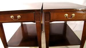 antique wood end tables pair antique vintage mersman mid century 1950 s mahogany end tables