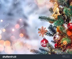 Christmas Decorations Snow Tree christmas tree background christmas decorations snow stock photo