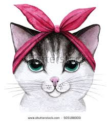 cute cat watercolor illustration hand drawing stock illustration
