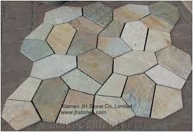 china oyster slate floor tile mesh irregular flagstone paving