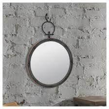 Circle Wall Mirrors Round Wall Mirror With Ring U0026 Rivet Trim Dark Gray Metal Target
