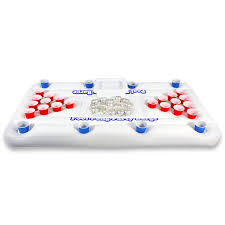 beer pong table size cm gopong pool party barge floating beer pong table with cooler white