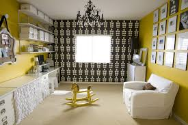 salt lake city yellow toile home office eclectic with slipcovers