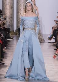 light blue long sleeve dress 2017 elie saab beaded pantsuits wedding dresses light blue long