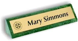 marble desk name plate