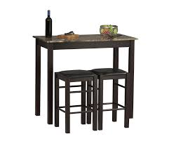 High Top Bar Stools Amazon Com Linon Tavern Collection 3 Piece Table Set Tables
