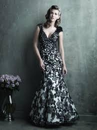 allure bridals black u0026 white organza u0026 lace applique trumpet gown