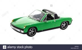 porsche old models old scale model porsche 914 cabriolet on a white background stock