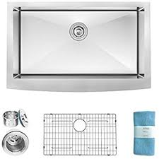 Kitchen Sink Deep by Zuhne 33 Inch Farmhouse Apron Deep Single Bowl 16 Gauge Stainless