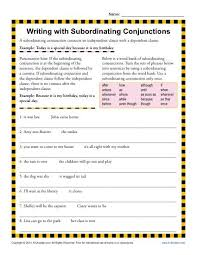 writing with subordinating conjunctions writing worksheets and