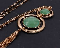 double circle long necklace images Gold tone double circle with metallic tassel long necklace green JPG