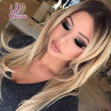 blonde hair with dark roots beauty human hair wig color 613 ombre blonde virgin lace front wig