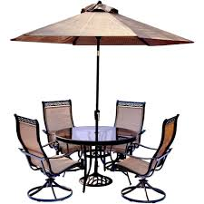 Outside Table And Chair Sets Hanover 5 Piece Aluminum Outdoor Dining Set With Round Glass Top
