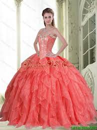 coral quince dresses pretty beading and ruffles coral quinceanera dresses with