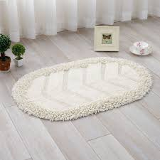 Oval Bath Rugs Laminate Floor With White Curtain And Shaggy White Oval