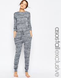 lounge jumpsuit lyst asos lounge jumpsuit in marl in gray