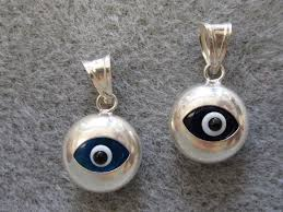 silver eye necklace images Sterling silver evil eye charm small round pendant jpg