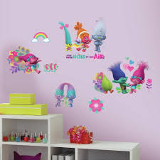 trolls movie peel and stick wall decals with glitter 7productgroup trolls movie peel and stick wall decals with glitter