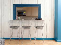 Blue Bar Stools Kitchen Furniture Vintage Metal Barstools Sit In Front A Pass Through From The