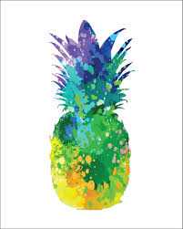Pineapple Decorations For Kitchen by Pineapple Archival Art Print 8 X 10 Multi Color Watercolor