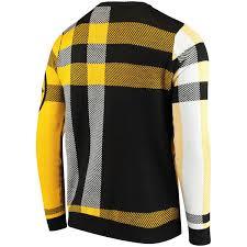 plaid sweater s pittsburgh steelers black plaid sweater nflshop com